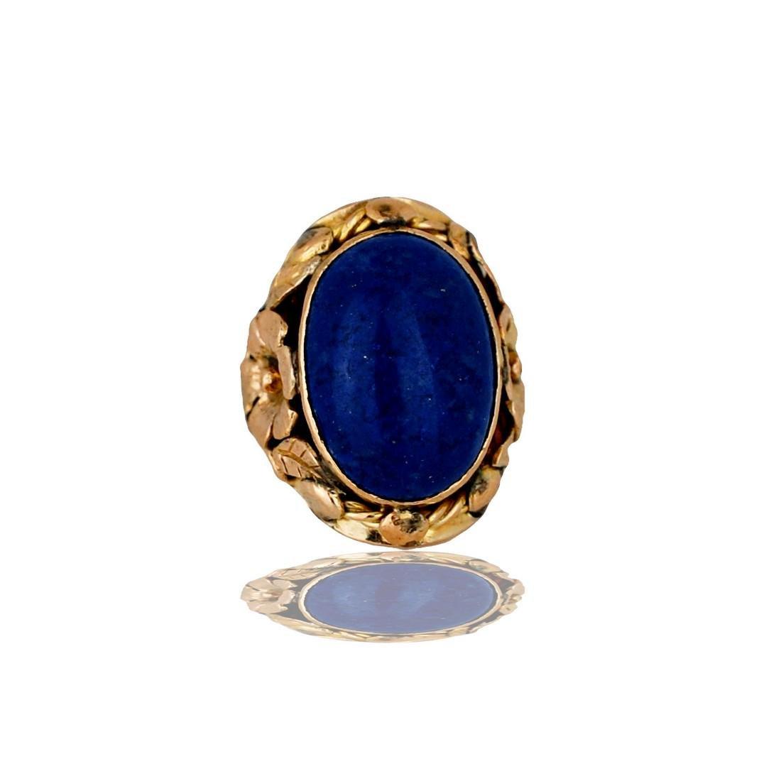 14 Karat Lapis Lazuli, Handmade Floral Petal Cabochon