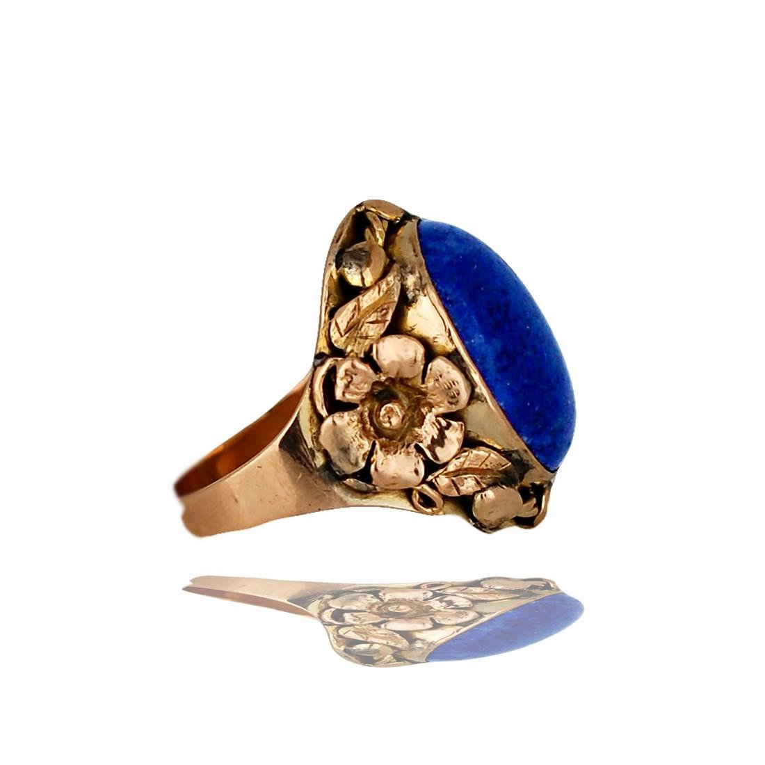 14 Karat Lapis Lazuli, Handmade Floral Petal Cabochon - 2