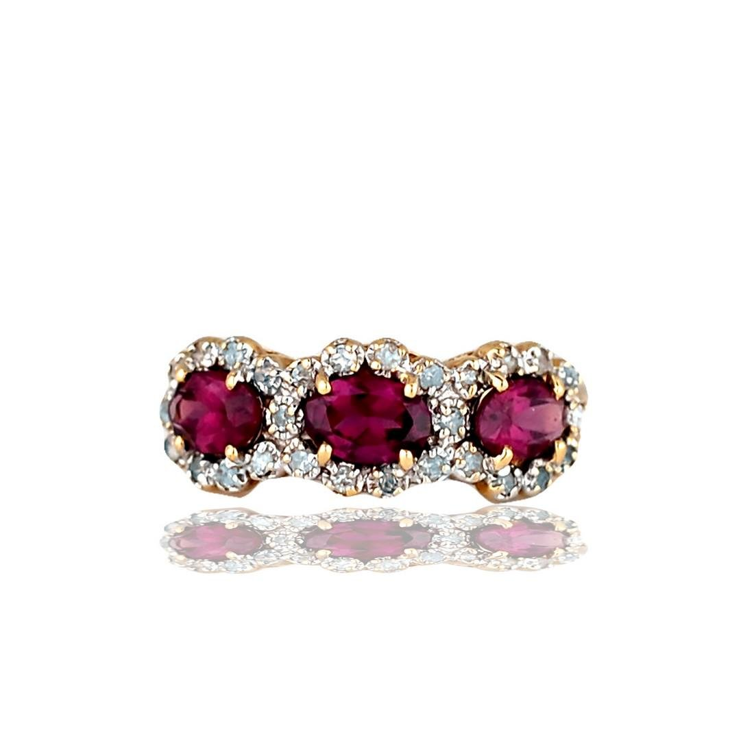 3 Stone Pink Rhodolite and Diamond, 1.80 CTW 14 Karat