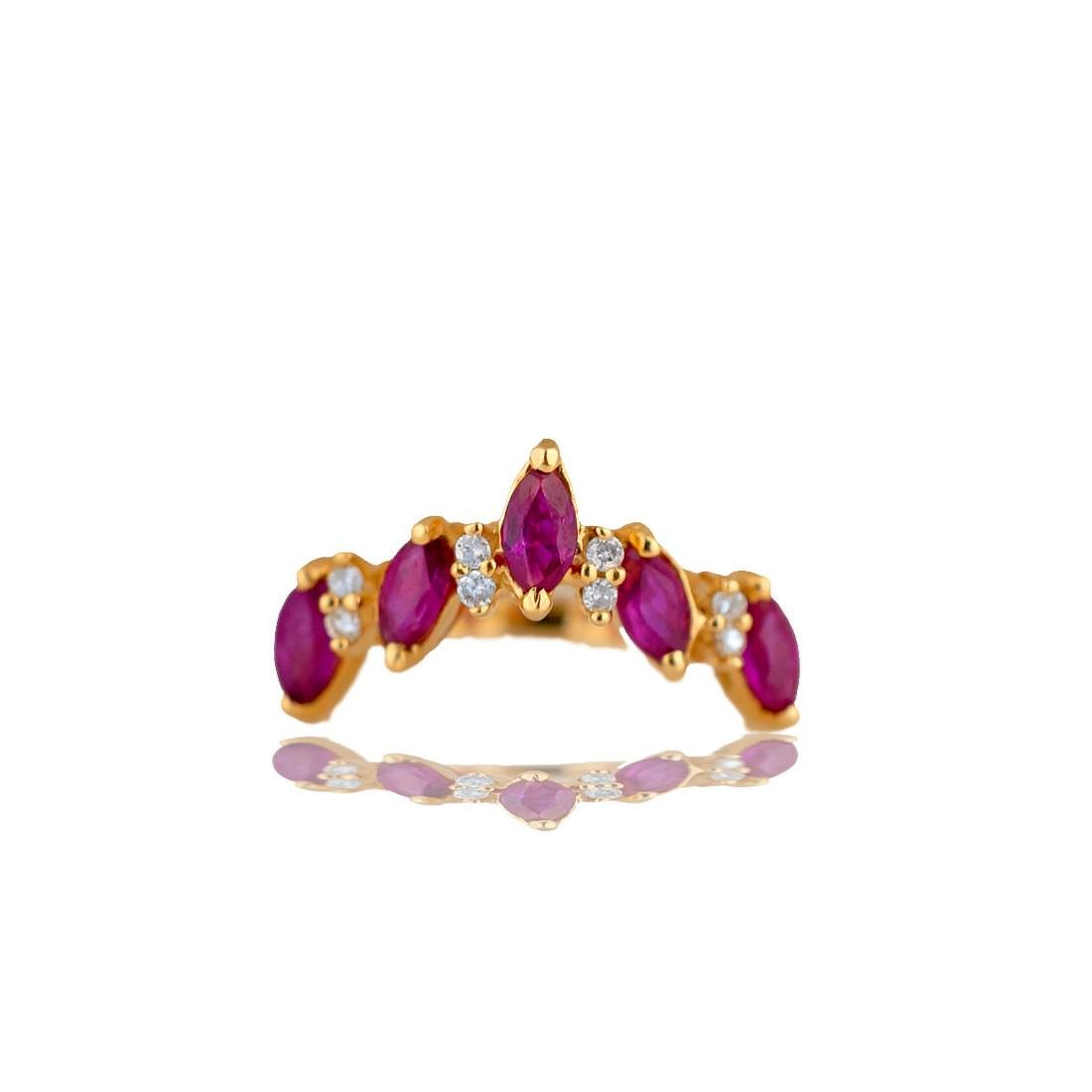 Ruby and Diamond 'V' Shaped Ring with Marquise set in