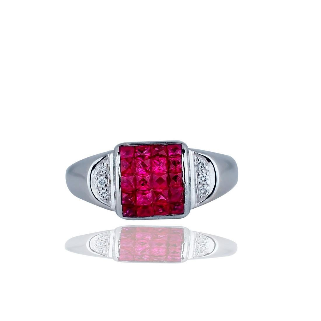 Invisible, Princess Cut Rubies and Diamond, Art Deco 18