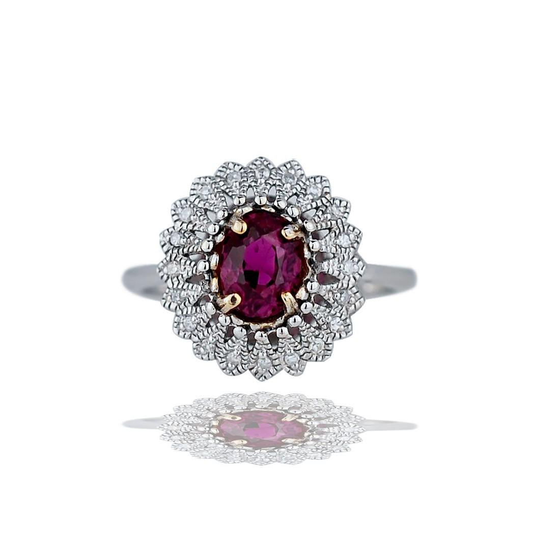 Tourmaline and Diamond Ring Accented In Tear-Shaped,