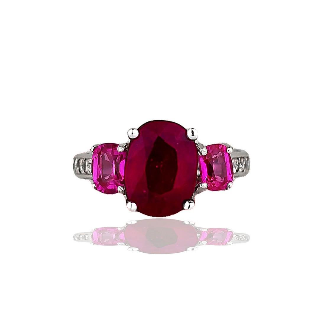 18 Karat White gold, 5 Carat Ruby Set in Three-Sided