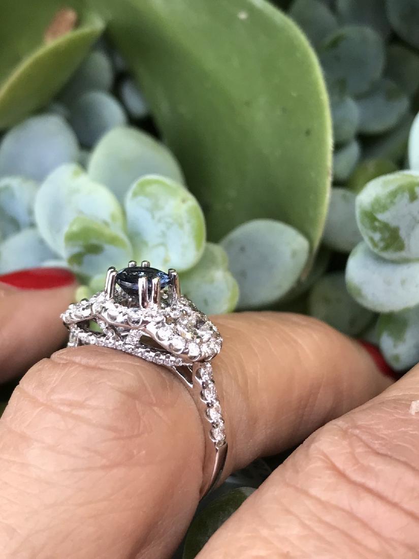 18 karat white gold tanzanite ring with crescent shaped - 2
