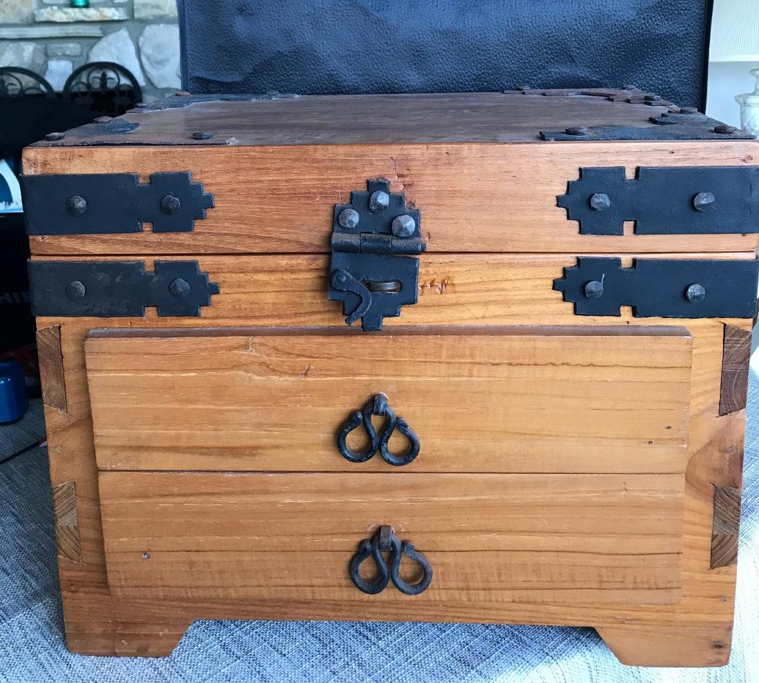 Old Handmade Box, Iron handled 17.5 x 14.5 with dove