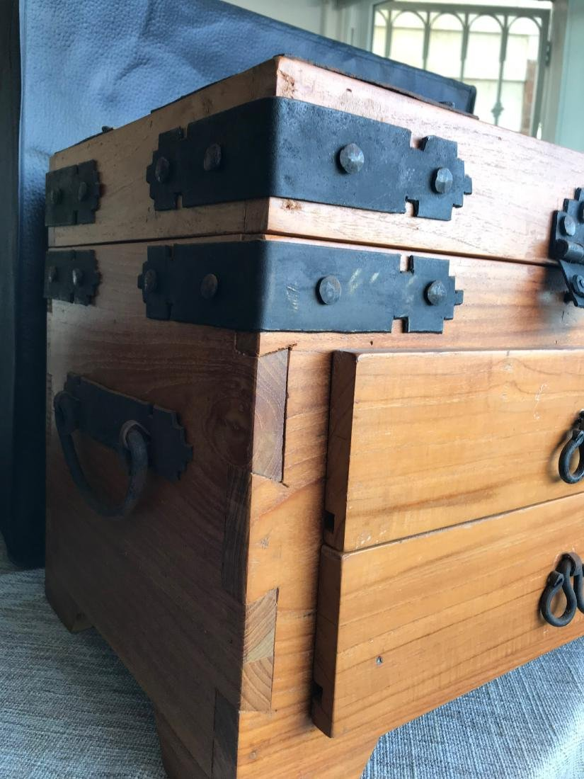 Old Handmade Box, Iron handled 17.5 x 14.5 with dove - 2
