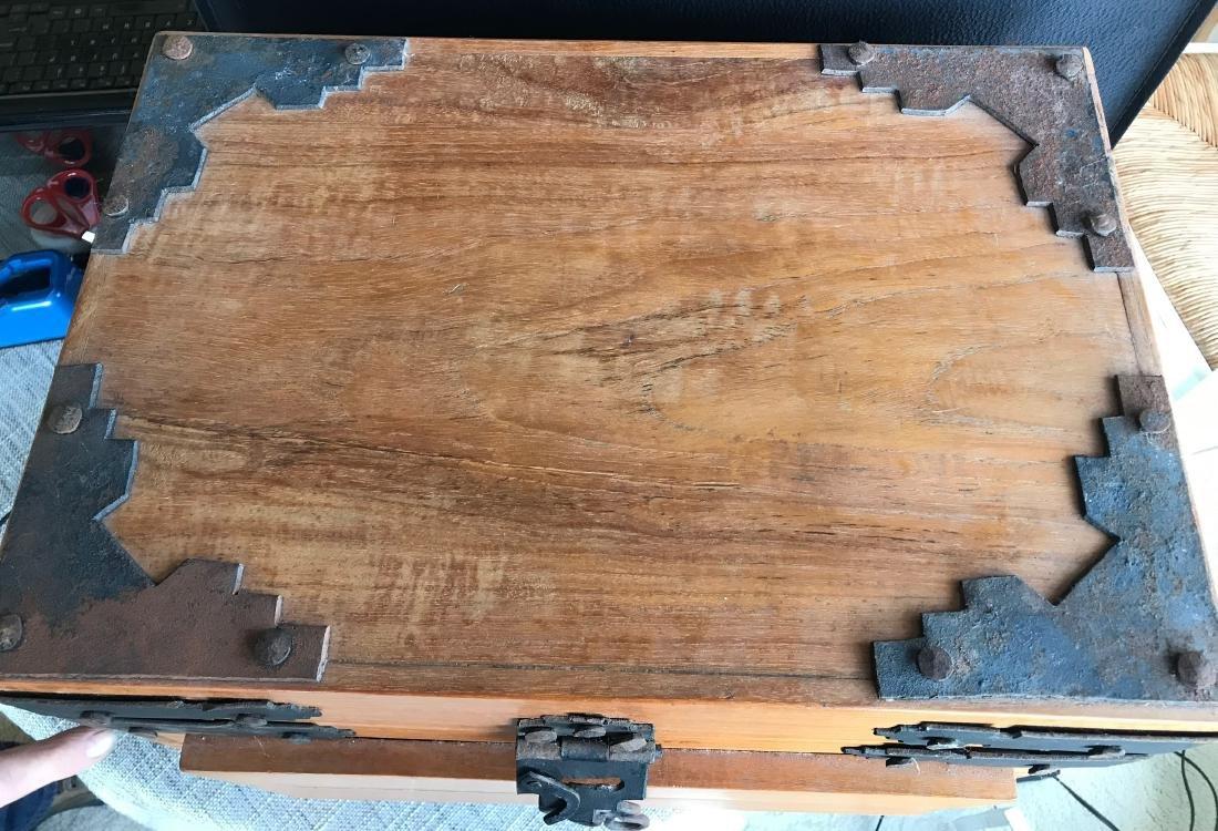 Old Handmade Box, Iron handled 17.5 x 14.5 with dove - 3