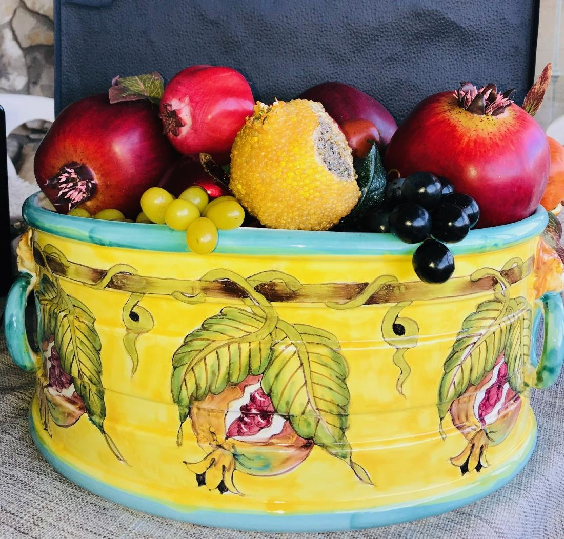 Fruit Basket, Colorful and Filled With Silk Fruit, 20 x