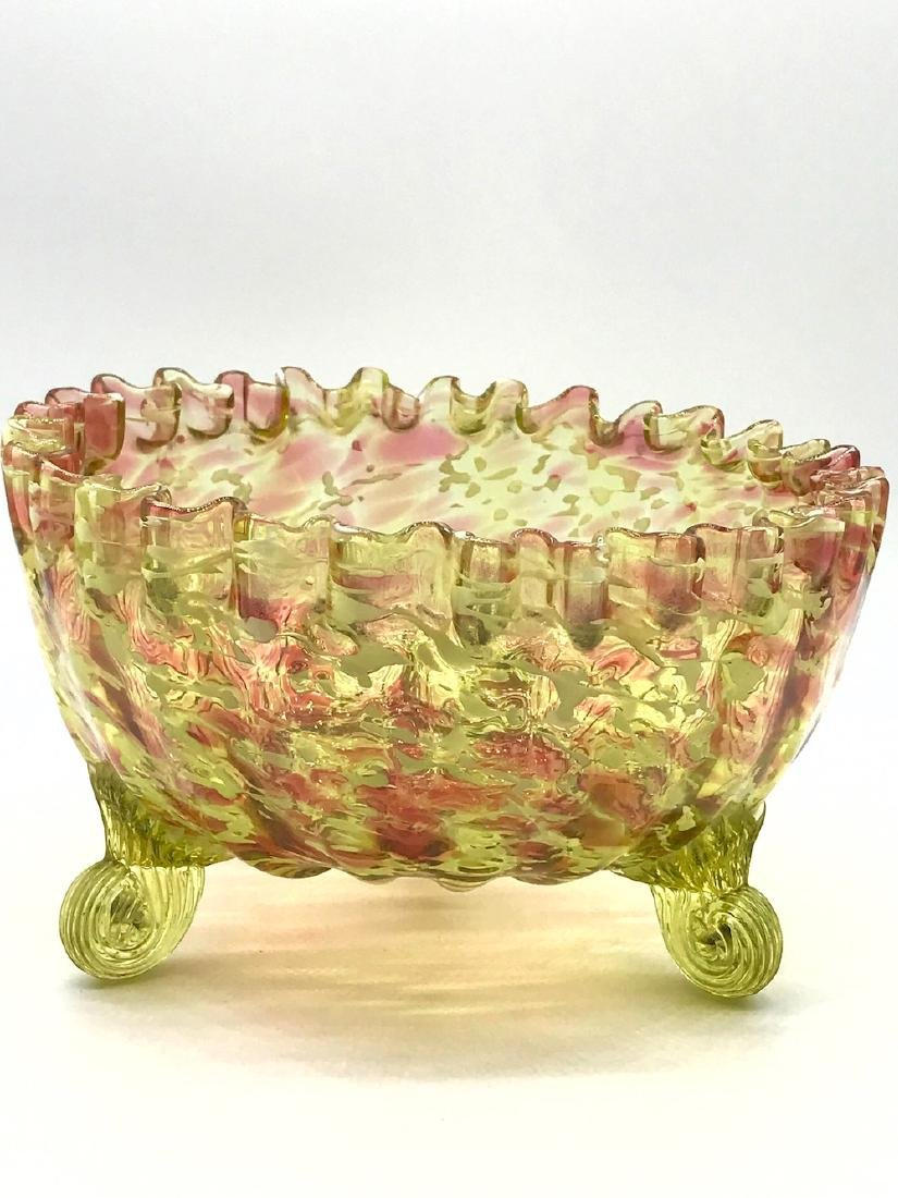 Vintage Cranberry, Laced Footed Bowl, 8 x 5.