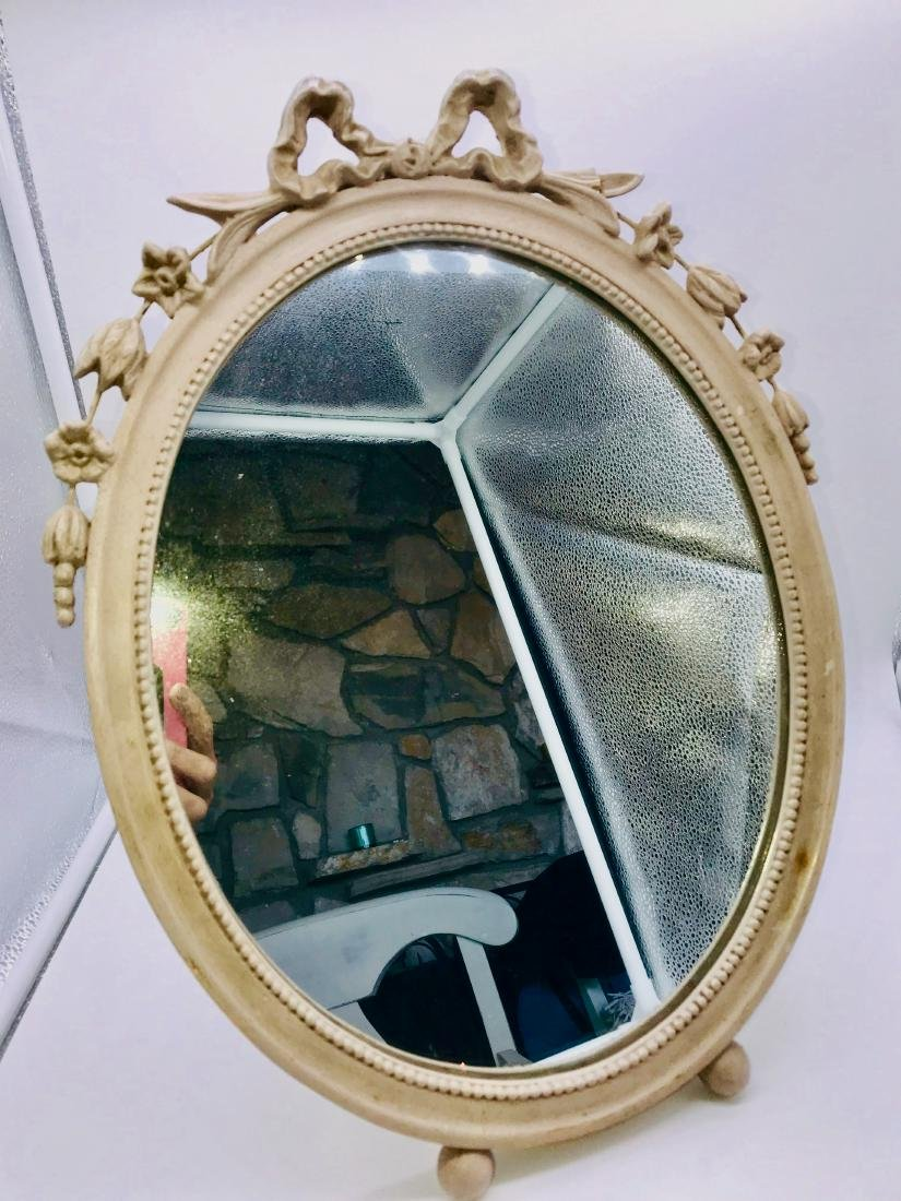 Oval, Antique Bowtie Mirrow, 17.5 x 11