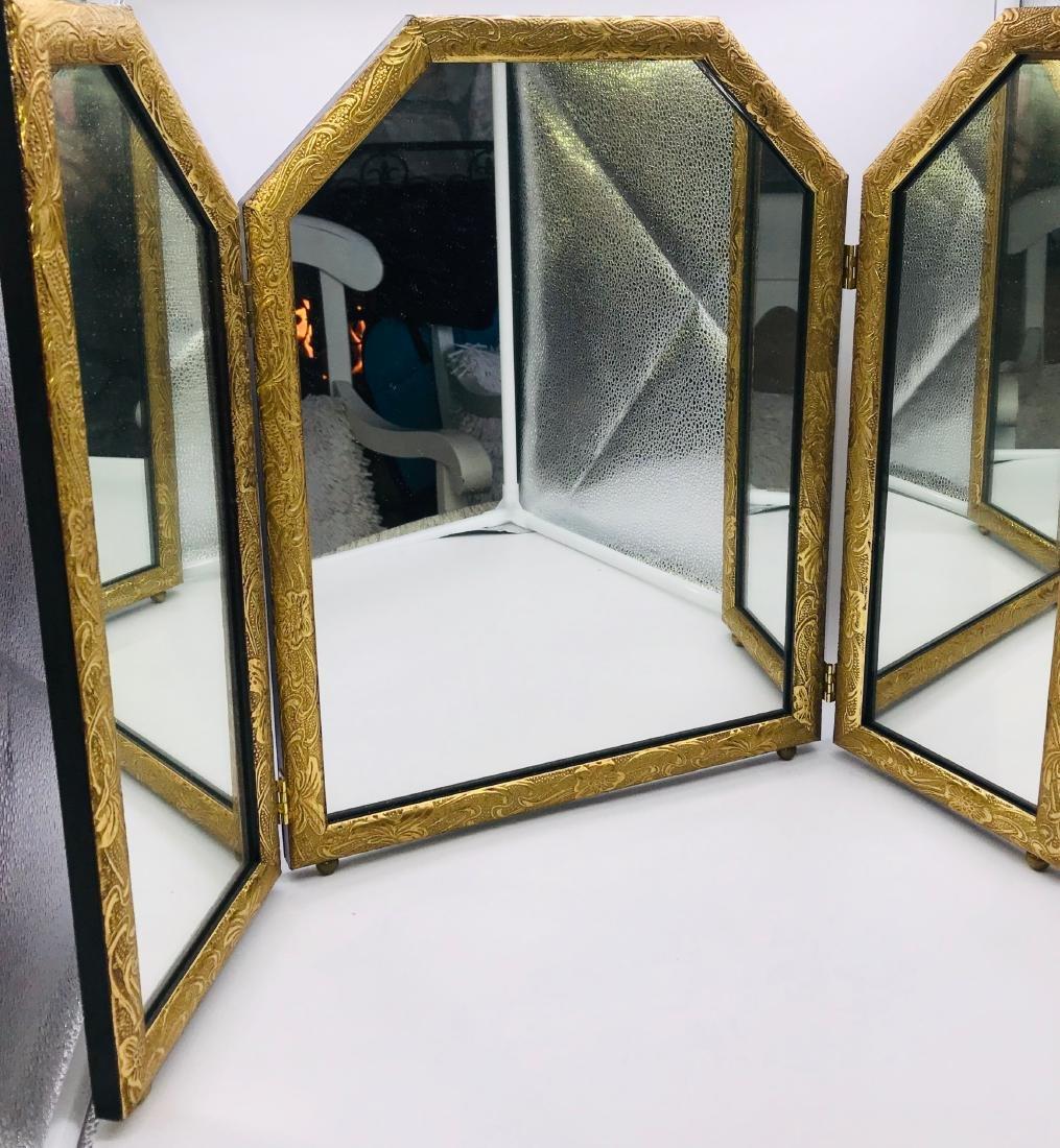 Gold Leaf, Three Fold Antique Mirrow, 18 x 24 inch
