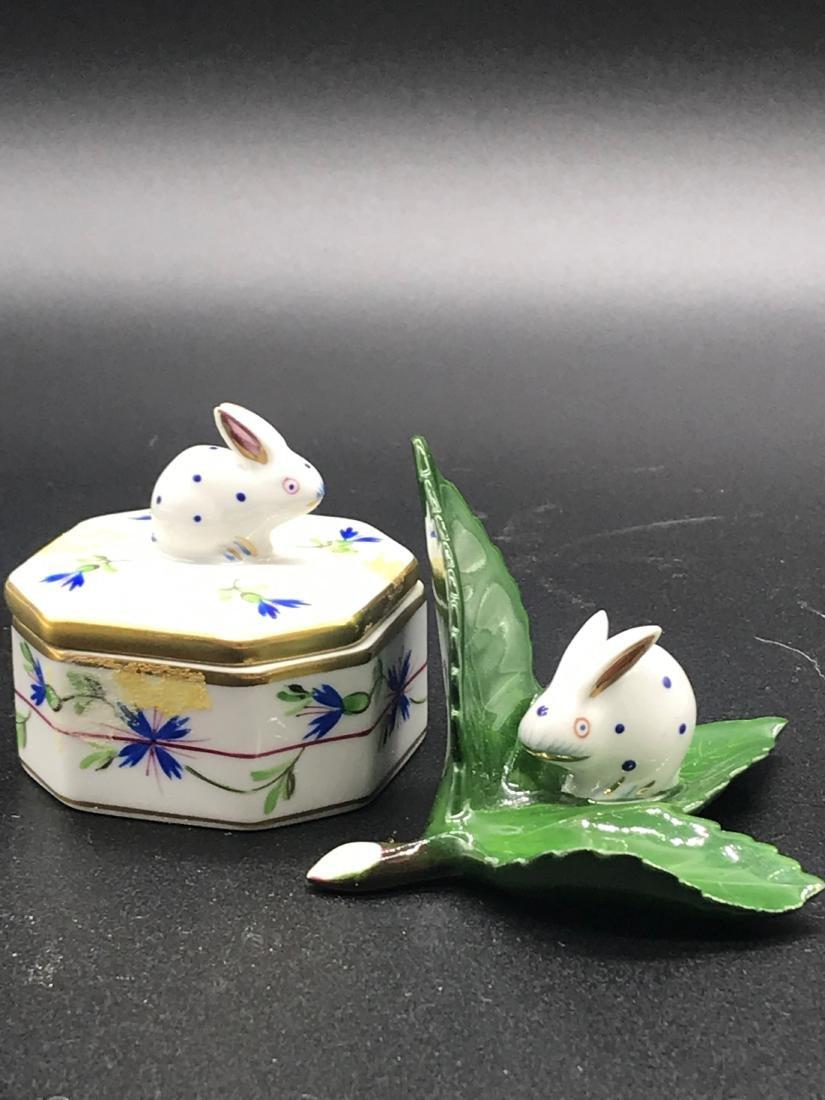 Herend Hungary, Rabbit 2-Piece Jar Décor, Handpainted