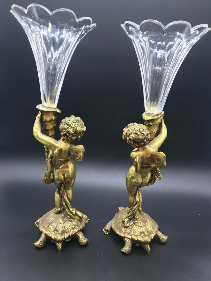 Angel Standing on Turtle with  Fluted Crystal Vase - 3