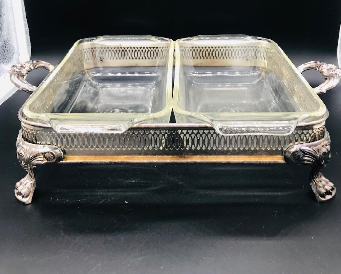 Silver 4-pc, Serving Casserole Warming Platters - 3