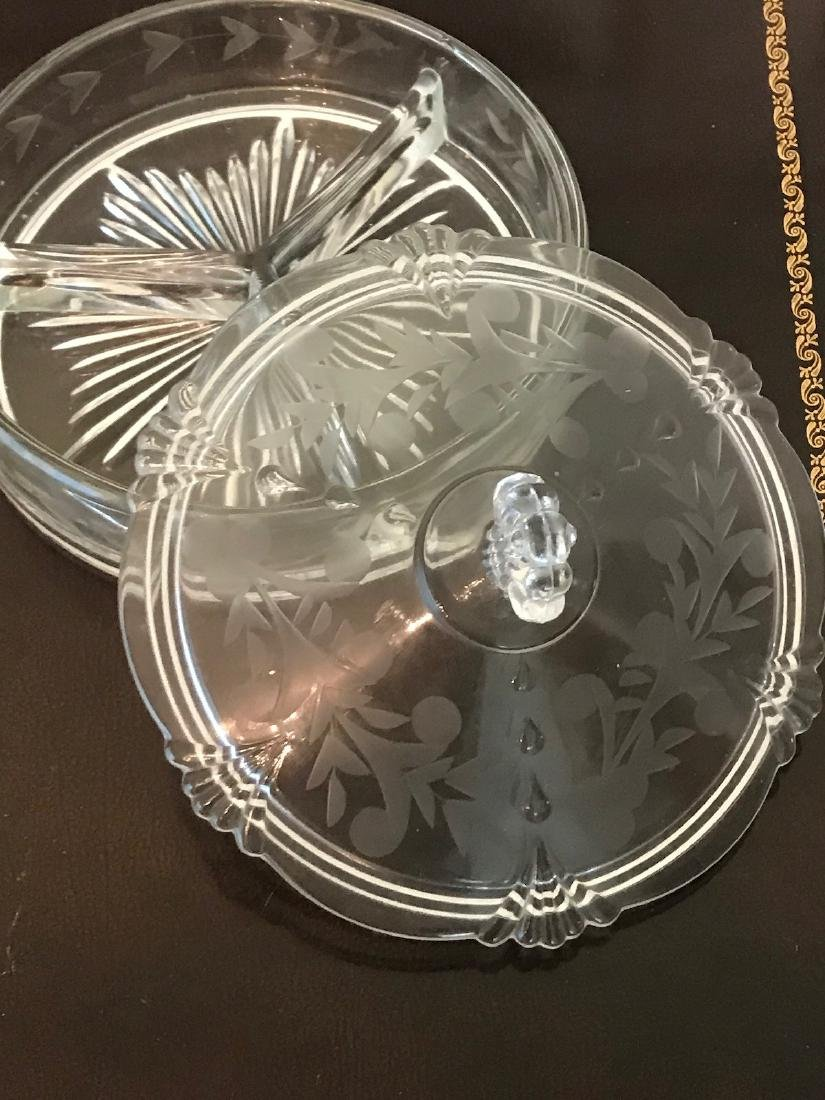 Etched, Crystal, 3-Part Candy Dish< Quality 6 Inch - 3