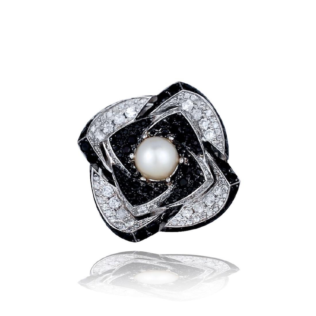 Art Deco, Large 9 TCW Flower Ring, Diamonds, Black - 2
