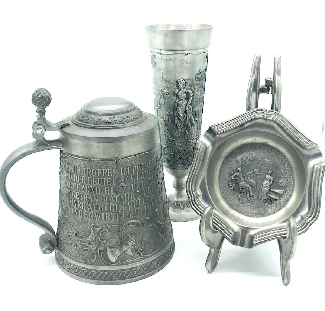Three Pc, Pewter Germany, SKS-Zinn, Goblet, Mug,