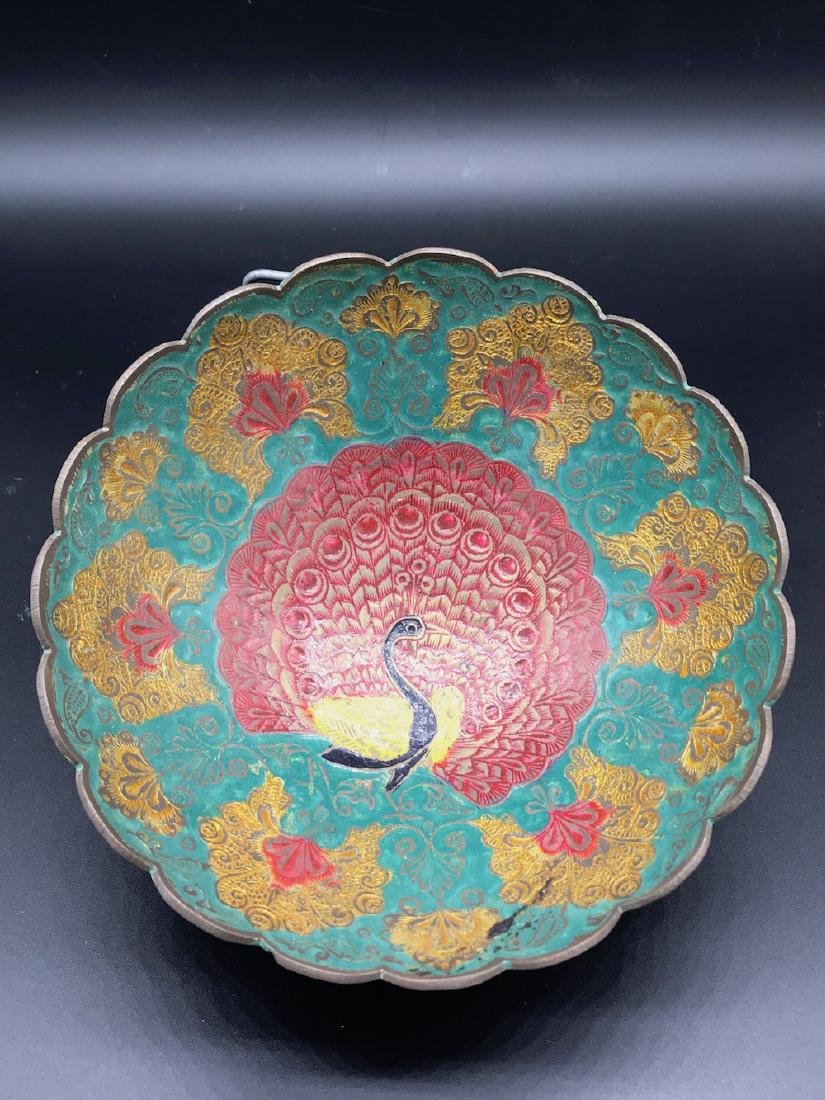 Middle Eastern Enamel, Colorful Peacock Bowl, 6-3/4 x