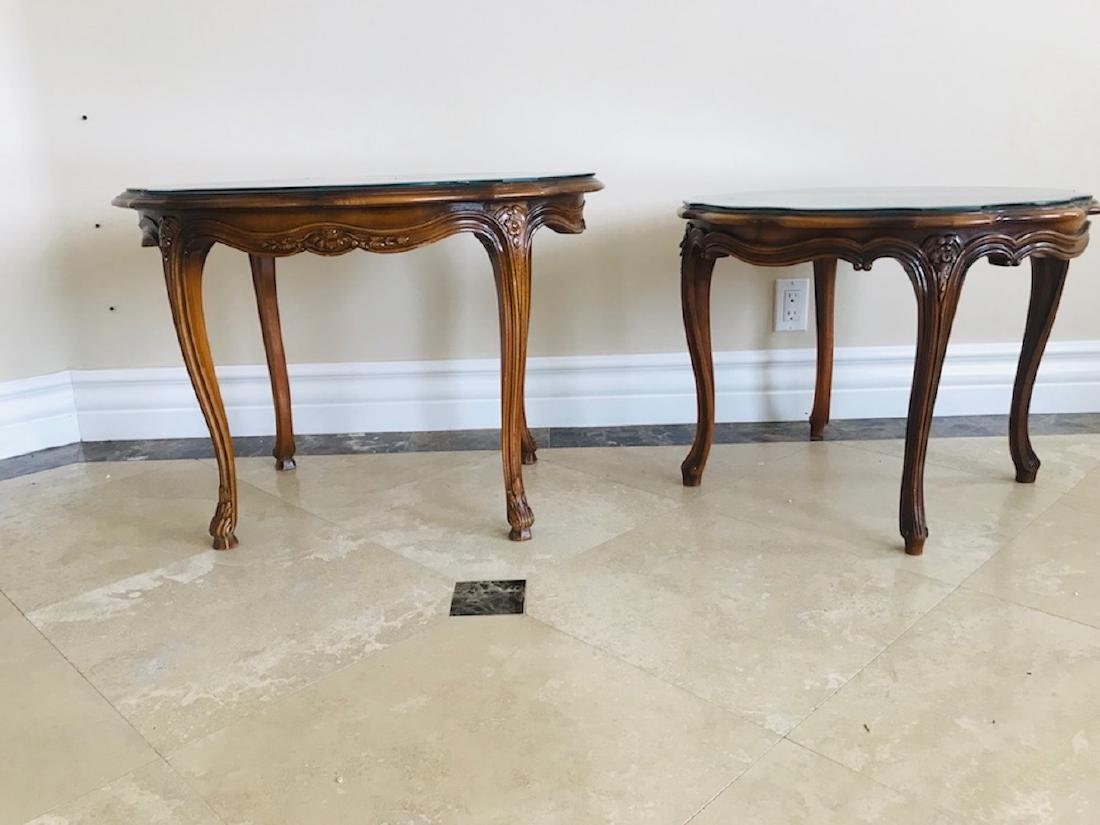 Pair, Walnut Glass French Tables, Oval and Round, 18th