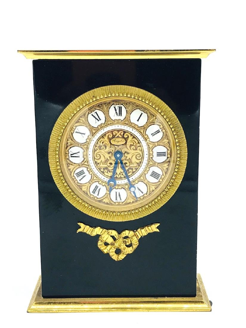 Angelus Black, Gold Porcelain French Clock, Swiss Made