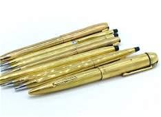 NINE, VINTAGE GOLD FILLED PENS & PENCILS. Circa 1970's