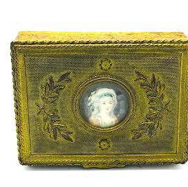 France Porcelain, Hand Painted Cameo Ornate  Box