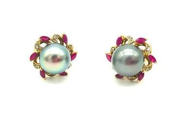 Superior 12MM Tahitian, Ruby-Diamond Pearl Huggy
