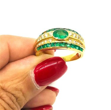 Emerald, Channel Diamond Band Ring, 18 kt