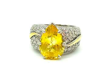 Yellow Sapphire 10.79 CT's, Domed Ring with 2.30 CT
