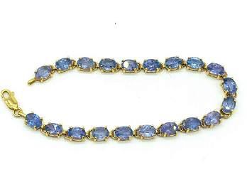 Tanzanite Bracelet, Oval Tennis-Bracelet Link, 14 Kt