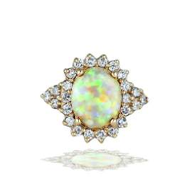 2 Carat White Opal Diamond Halo 14 Karat Yellow Gold