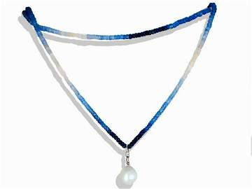 Sapphire, Hombre and South Sea Pearl Diamond 36""