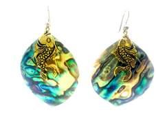 "Fish Abalone Earrings, Dangle 2 x 1.5"" Wide"
