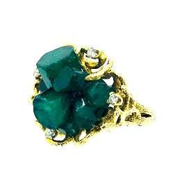 Organic Green Emerald, Beryl crystal Deep Green, Ring