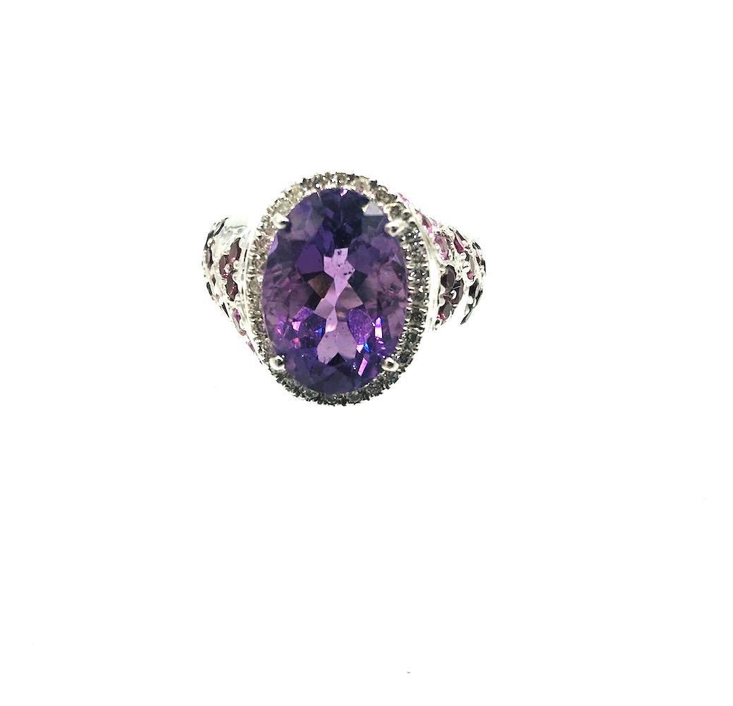 LUCIEN PICCARD Amethyst, Pink Sapphire, Diamond Halo