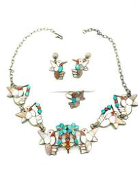 Artist Hummingbirds, Earring Necklace Ring Set.