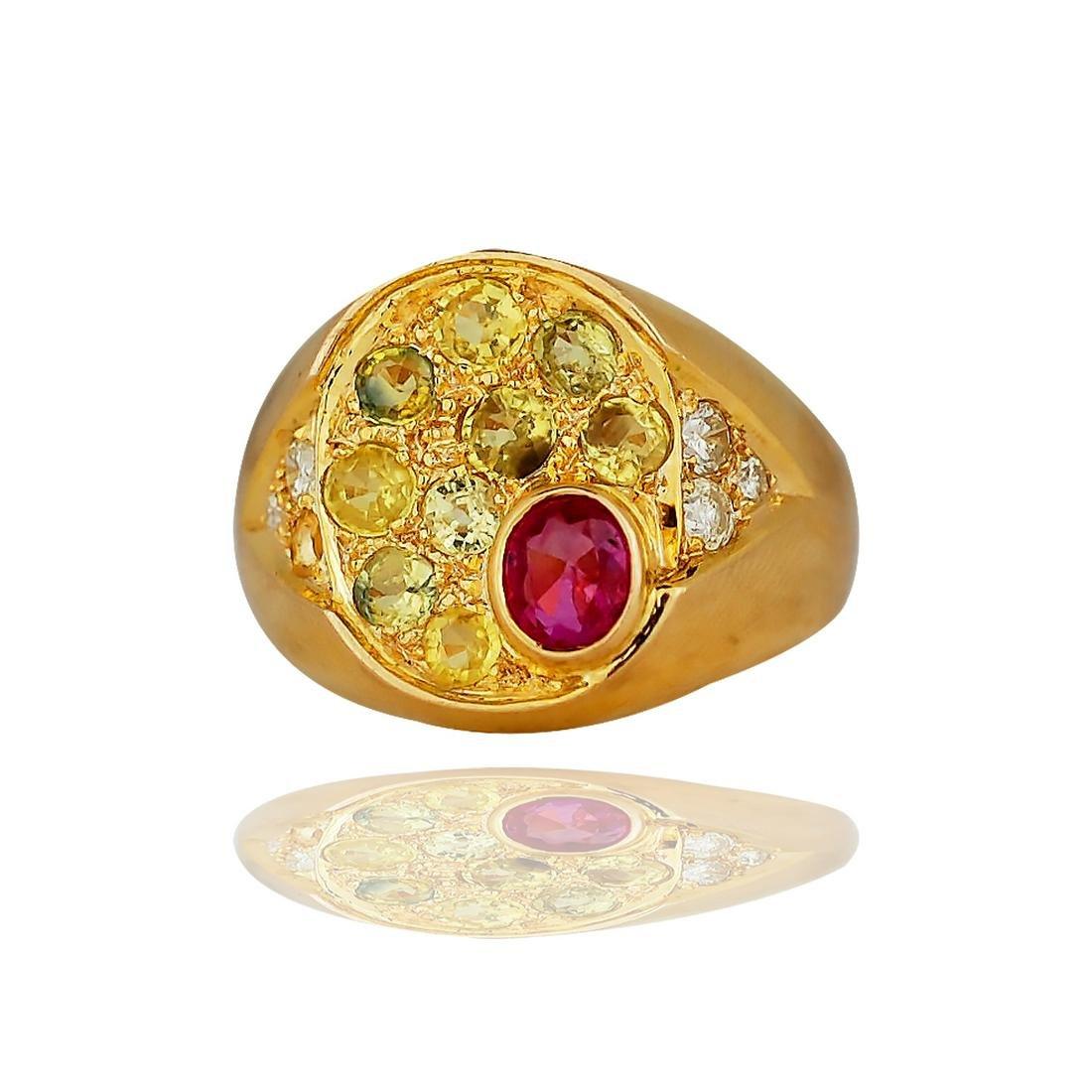 Ruby & Yellow Sapphire with Diamonds, 2.00 TCW, 14
