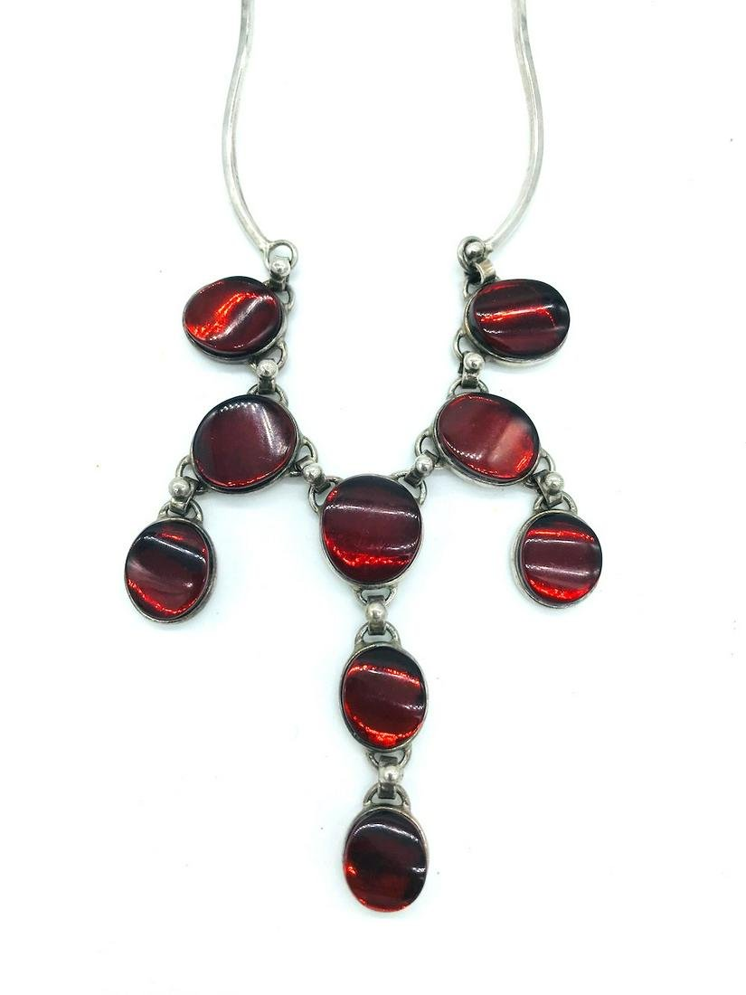 Amber Colored, Sterling Chandelair Necklace