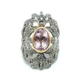 Ornate, Shield Ring, 9 CT.Morganite Beryl and Diamonds,
