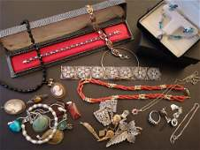 Selection of silver and costume jewellery, including