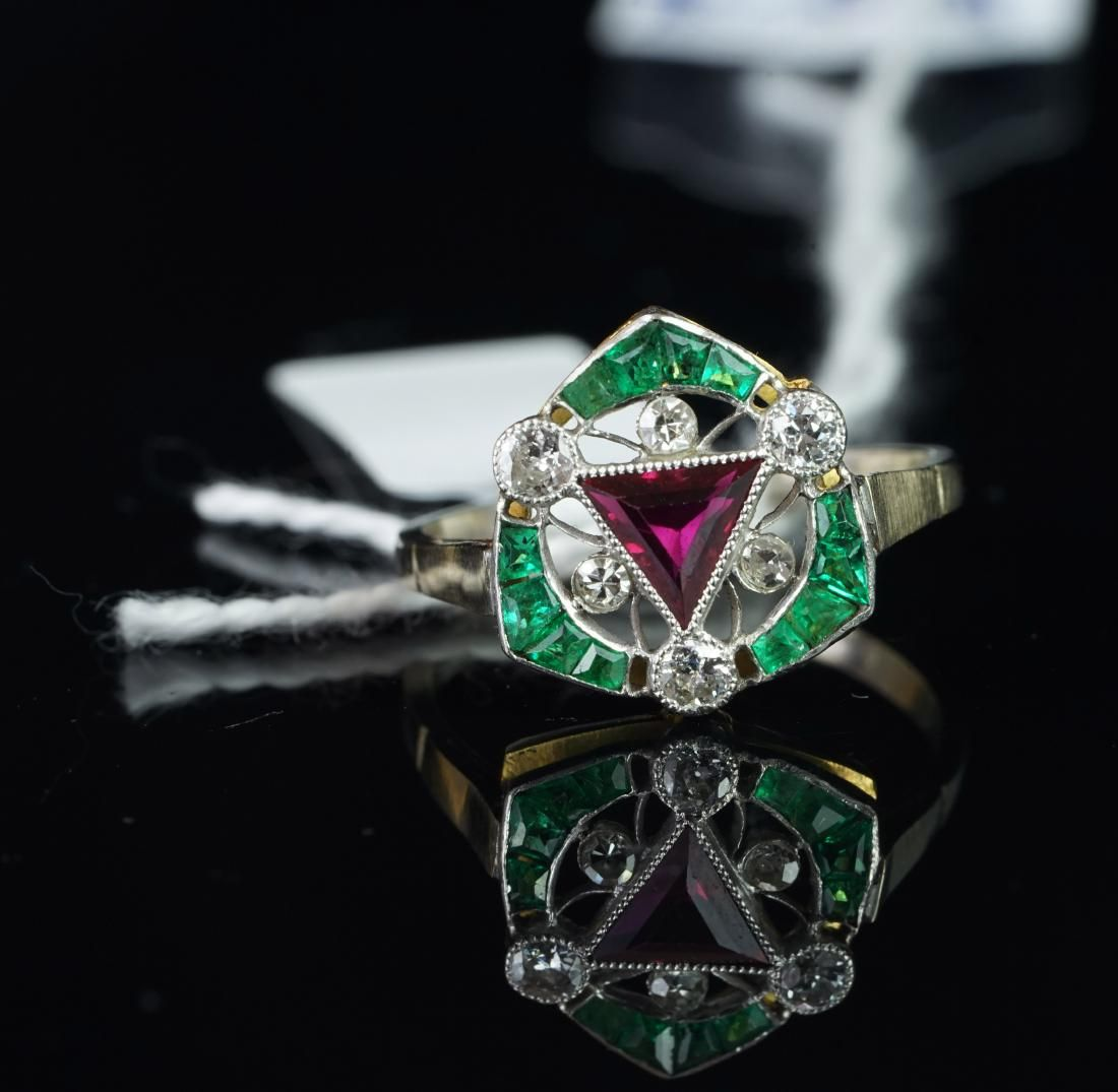 Art Deco ruby, emerald and diamond fancy cluster ring,