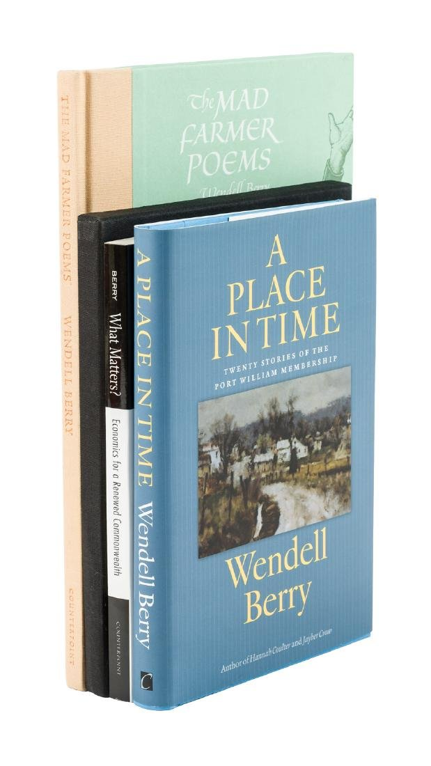 Four signed volumes by Wendell Berry