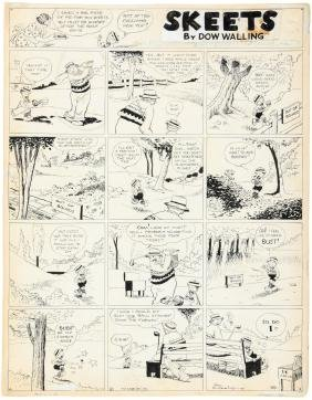 Original cartoon golfing art by Dow Walling