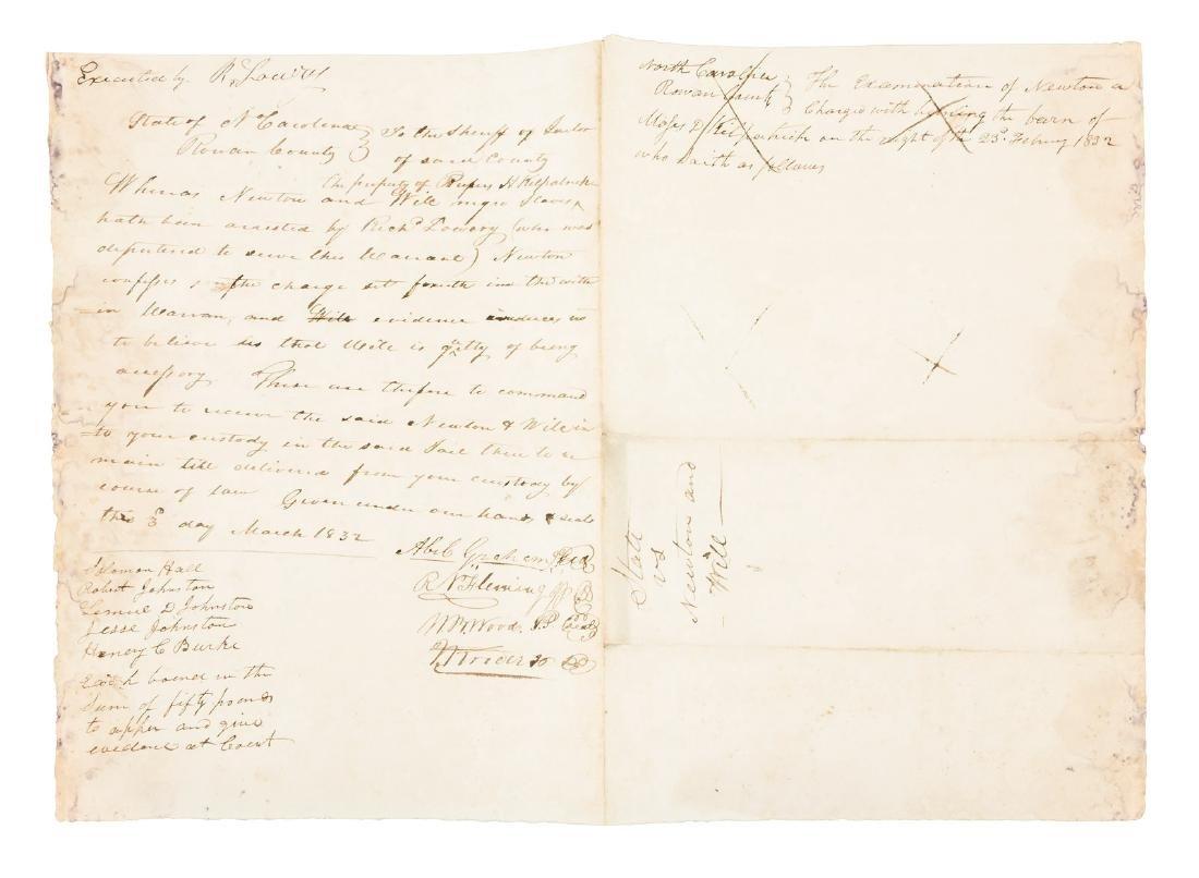 1832 N.Carolina Negro Slave arson plot, legal document