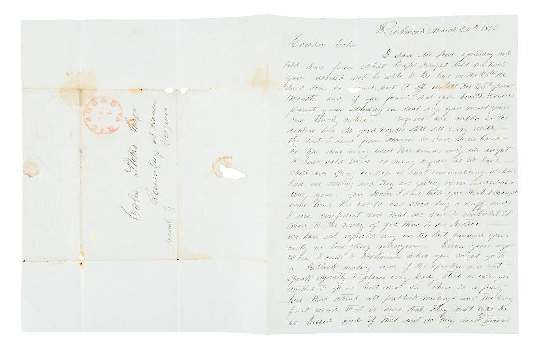 1850 letter from a Virginia Slave-Trader
