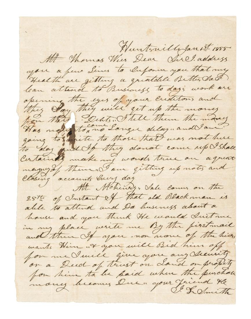"1855 Letter, Mississippi auction of an ""old Black"""
