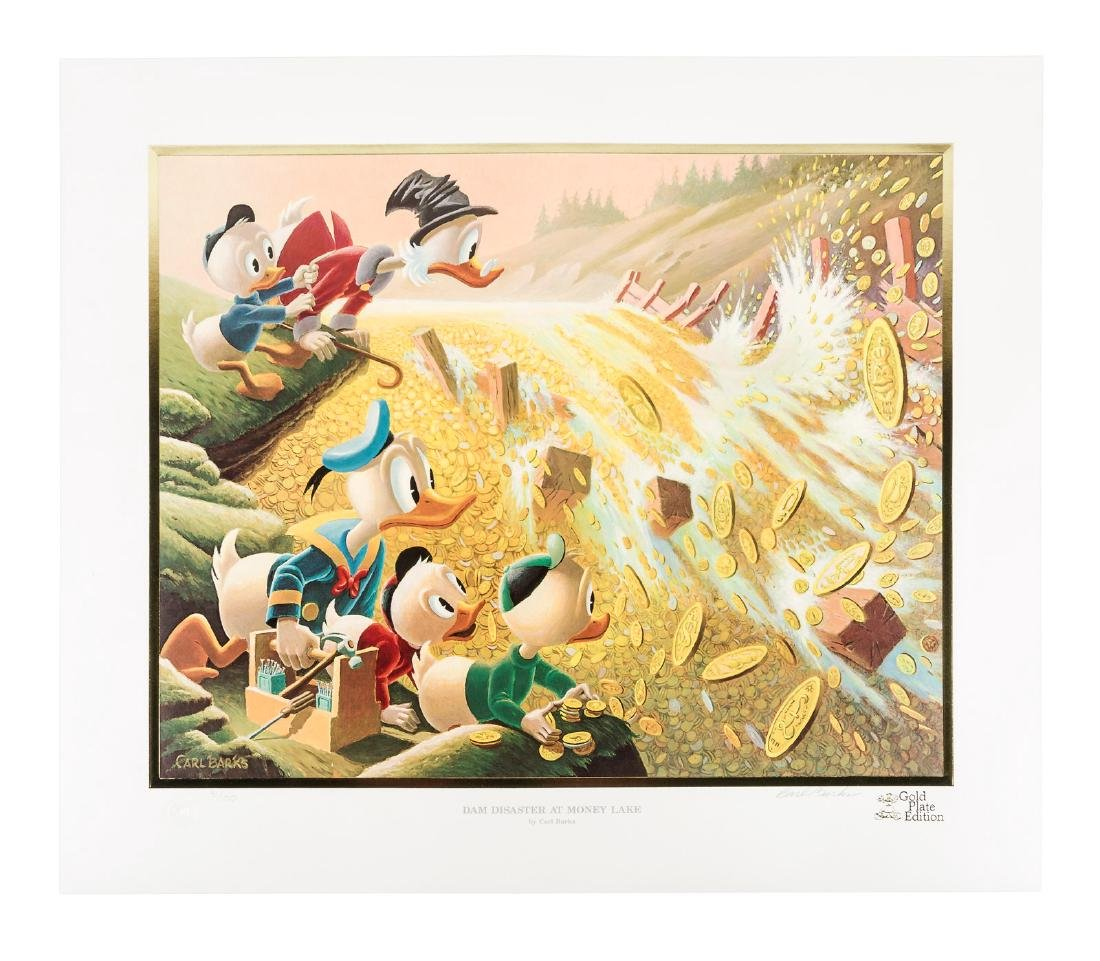 Carl Barks Donald Duck lithograph Dam Disaster at Money