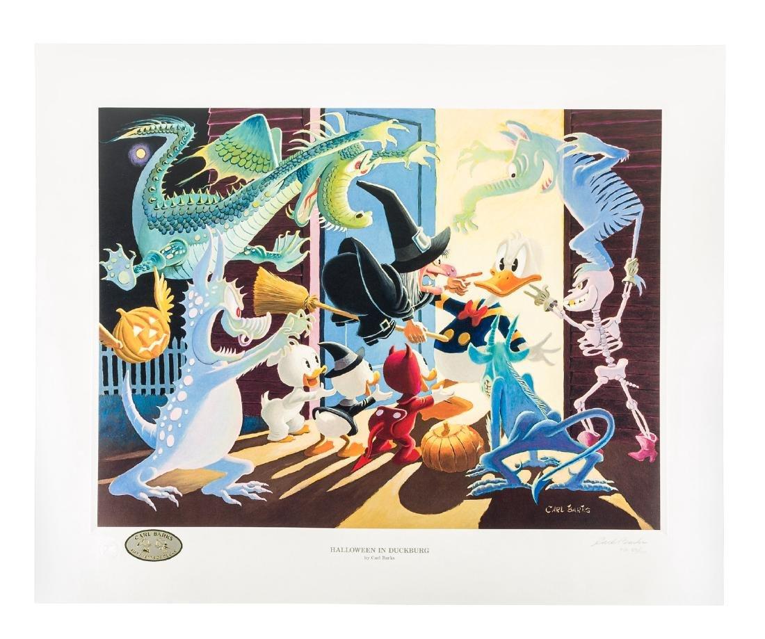 Carl Barks Donald Duck lithograph Halloween in Duckburg