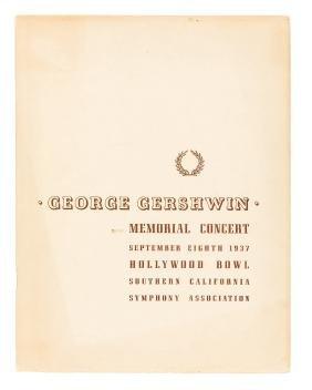 Program for 1937 George Gershwin Memorial Concert