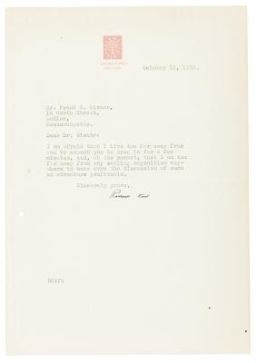 Letter from illustrator Rockwell Kent